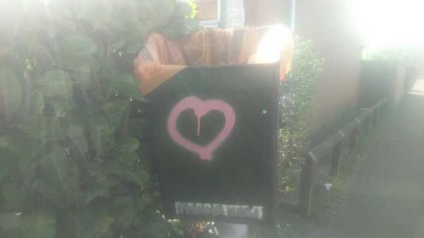 graffiti on the bin -89 Norfolk Road, Reading, RG30 2EG