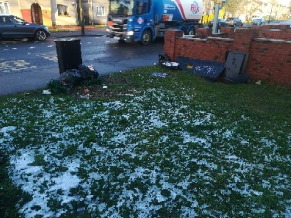 Public bin overflowing, black bags dumped around it, flytipped green bin on pavement, and wood pieces dumped on grass.  image 1-68 Thompson Avenue, Wolverhampton, WV2 3NR