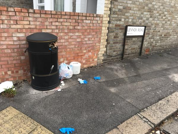 Fly tipping and full bin-94 Wokingham Road, Reading, RG6 1LF