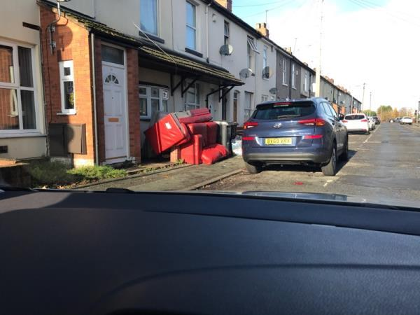 Large furniture dumped on front of street in front of houses.  image 1-10 Jameson Street, Wolverhampton, WV6 0NS