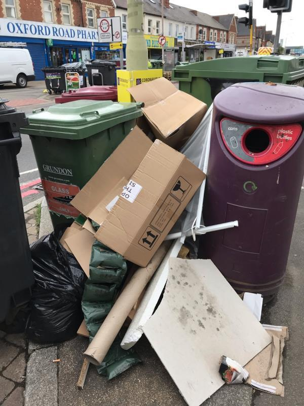 Rubbish dumped outside western Elms pharmacy -351a Oxford Road, Reading, RG30 1AY