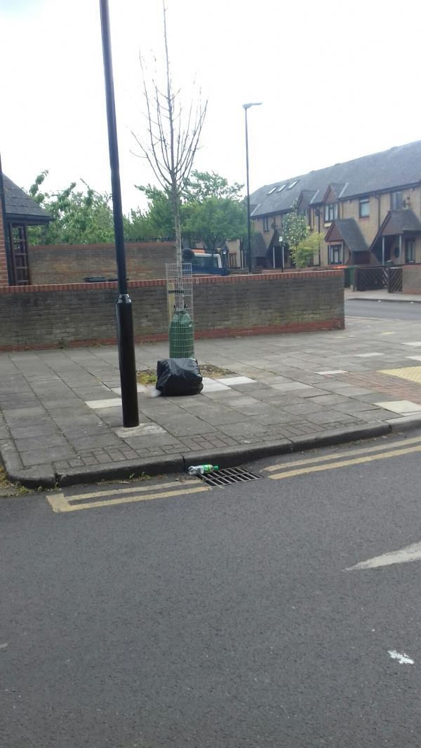 A black bag of wastes dumped opposite 45 Chargeable Street E16 -1 Chargeable Lane, Plaistow, E13 8DF