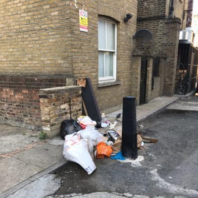 Fly tipping millers terrace -1c Shacklewell Lane, London, E8 2DA