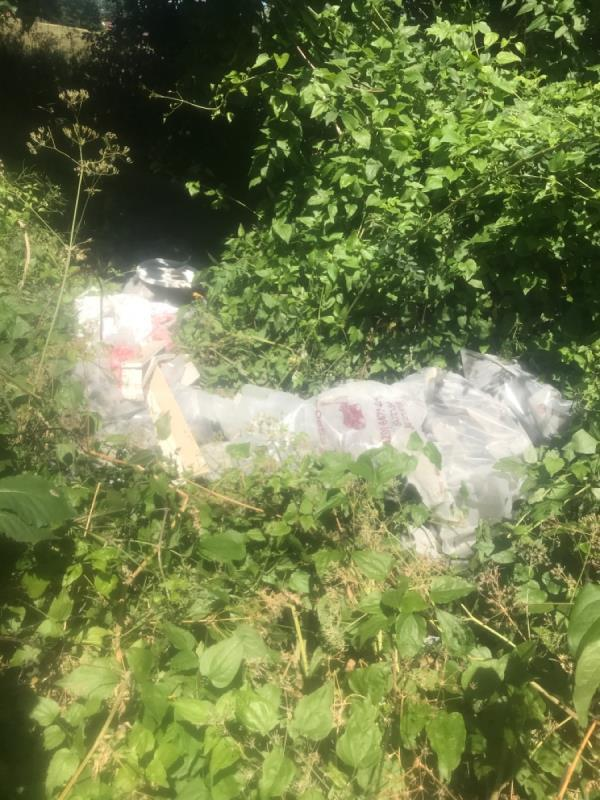 Fly tipped waste by bus stop-34 Strait Road, London, E6 5QJ