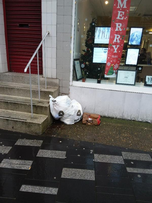 Litter and Bin Bags left at this location-43-45 Broadway, London, E15 4BQ