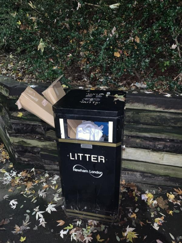 Bin on Mavis Walk / Mitchell Walk intersection overflowing due to many cardboard boxes shoved in -28 Leamouth Road, London, E6 5SG