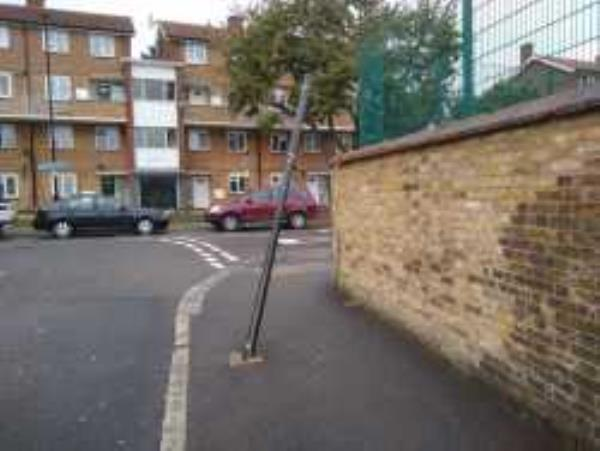 Pole damaged. Hazard as at head height..  Reported via Fix My Street-Haseltine Road