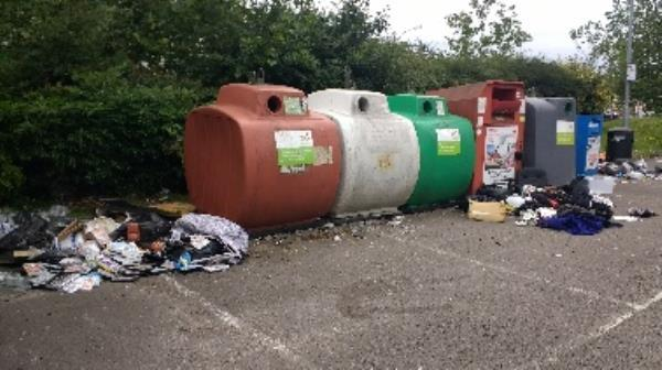 Lots of dumped household waste at Rivermead recycling bank-Unit 3-5 Tessa Road, Reading, RG1 8EQ