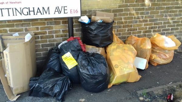 5 bags of clinical wastes bags, 5 black bags of wastes, cardboard boxes and a toaster dumped at Nottingham Avenue, Wilkinson Road -73 Nottingham Avenue, Canning Town, E16 3RT