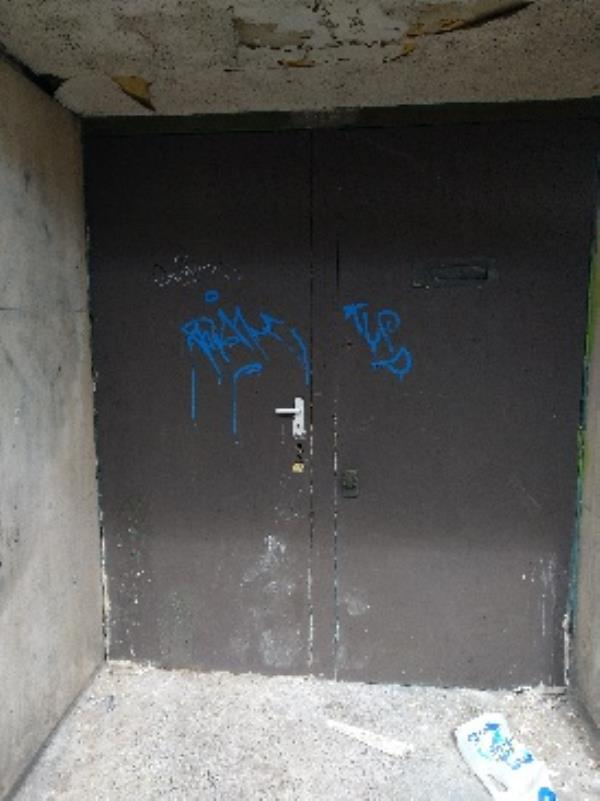 Tagged on fire Exit outside Bhalla& Sons Material-Leicester Market Food Hall, 33 Market Place, Leicester, LE1 5GG