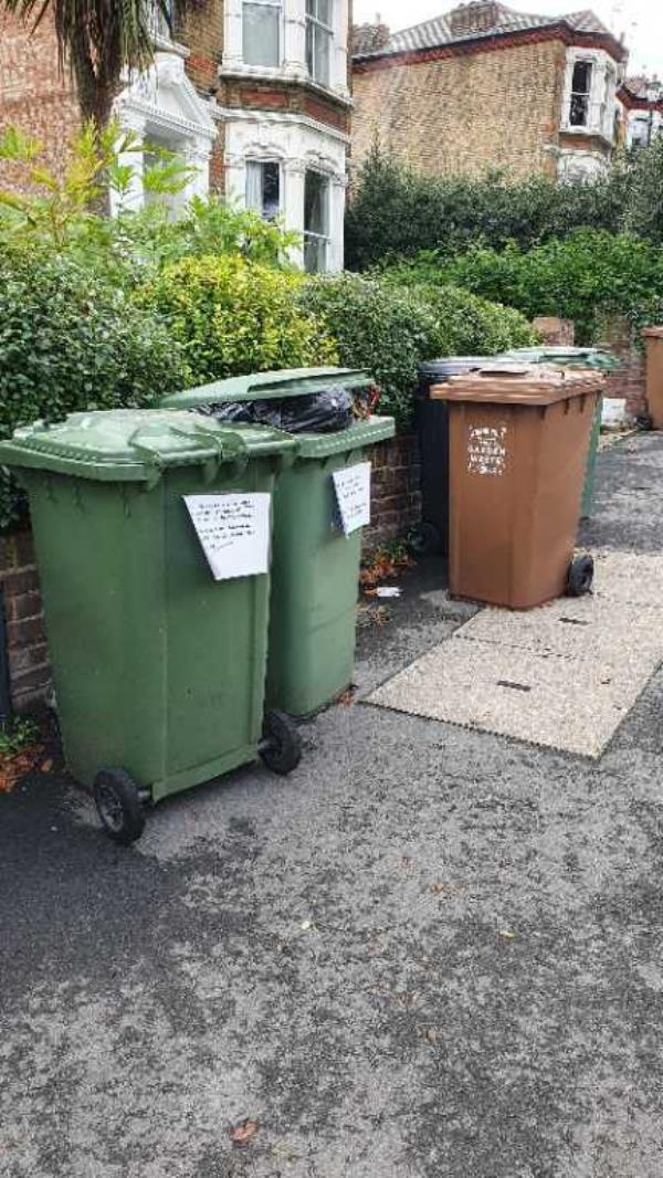 There are 5 x rubbish bins containing builders waste that have been flytipped outside 57/59 Pepys Road. The bin men will not take them but they need removing in entirety. There are 3 x Green bins, 1 x Brown bin, 1 x Grey bin.. Reported via Fix My Street-57 Pepys Road