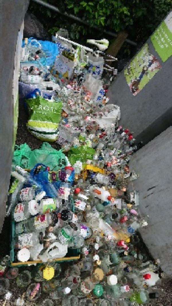 Bottle banks full needs to be emptied cleared excess bottle s -100 Wokingham Road, Reading, RG6 1LF