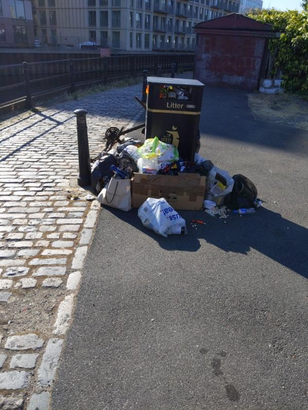overflowing bin and old bicycle frame-128 Bisson Road, London, E15 2RF