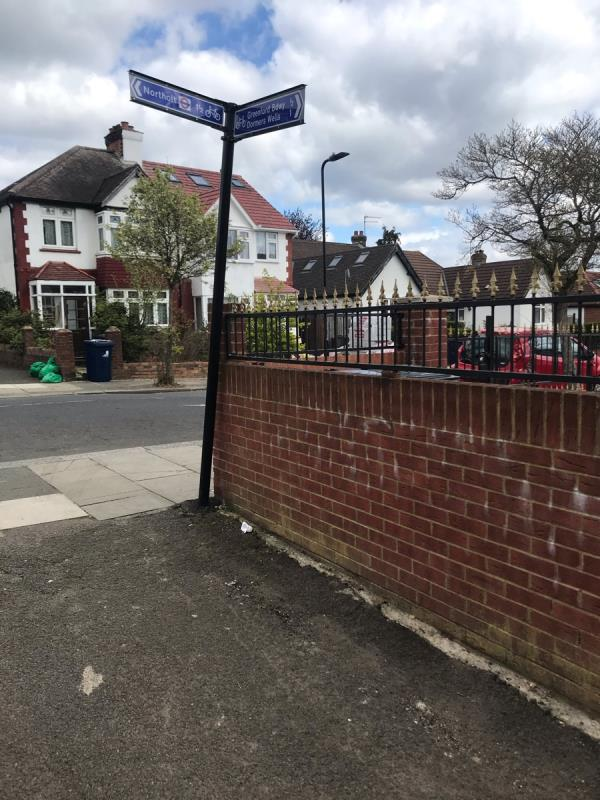 Leaning sign post is located next to 83 Ravenor Park Road Ub6 -79 Ravenor Park Road, Greenford, UB6 9QY