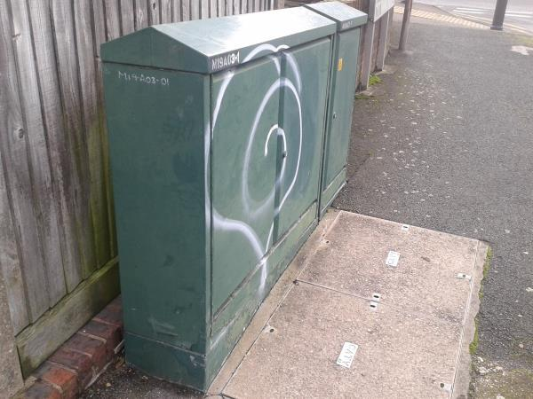 Junction of Henry Cooper Way Remove graffiti from cable box-31 Dunkery Road, London, SE9 4HX