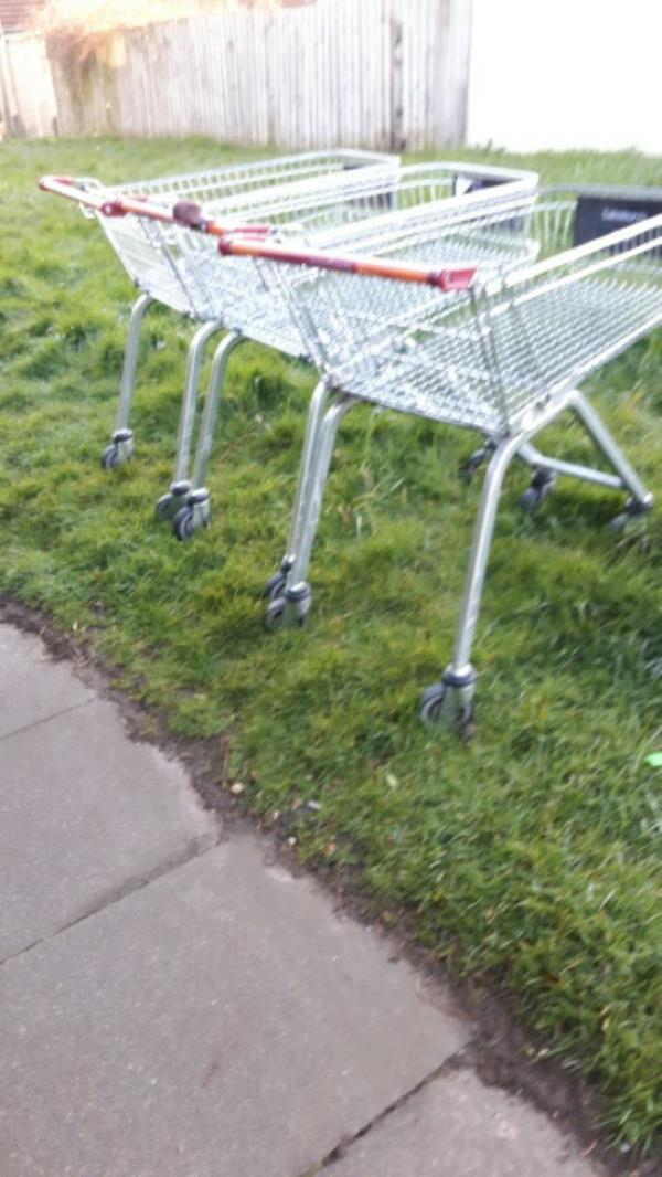 Three more Sainsbury trolleys abandoned.-152 Sturdee Road, Leicester, LE2 9AG