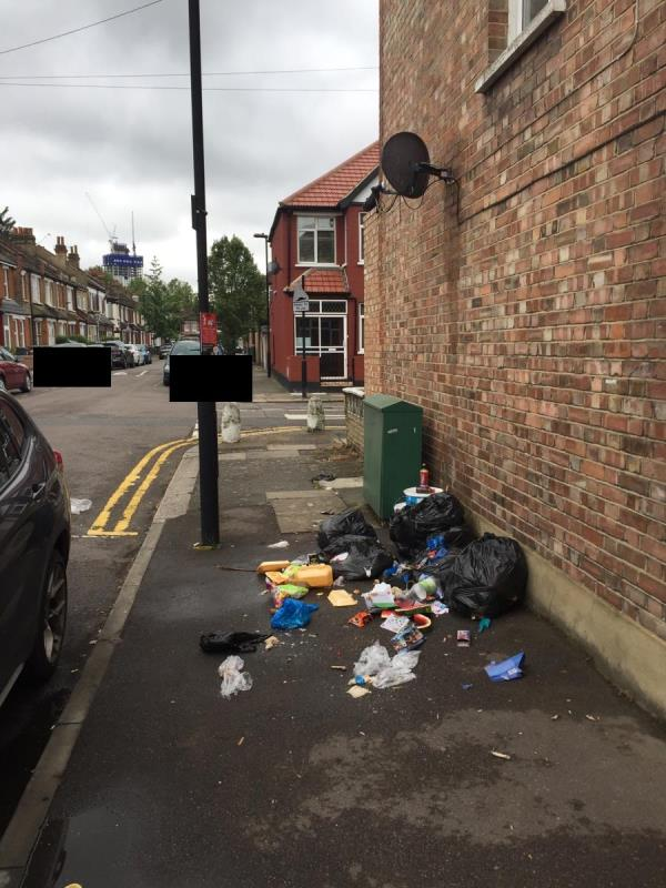 Someone had dumped this rubbish which is obstructing the path, they seemed to have placed the bags purposefully by the fly topping signs  -149 Sherringham Avenue, Tottenham, N17 9RU
