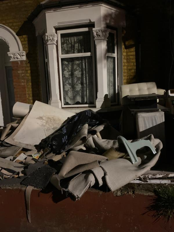 Fly tipping in garden, been like this for months -55a Boundary Road, Plaistow, E13 9PS