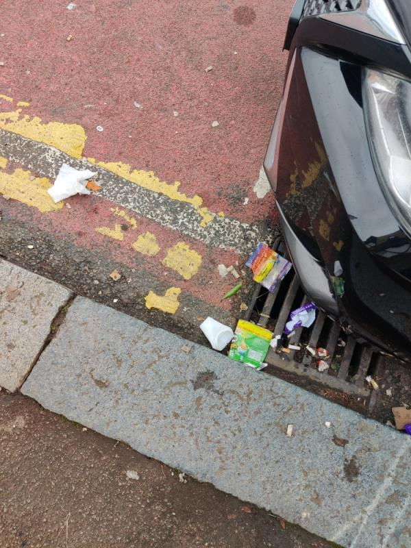 hi Newham, please can you arrange for the pavement and street to be swept as it's covered in cigarettes and bottle caps. please can you arrange for a litter picker/blower to remove the litter from the railings as it's all caught in the park fence too -73 Wellington Road, London, E7 9BY