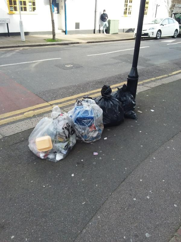 Bin Bags and Litter left at this location-2a Tennyson Road, London, E15 4DJ