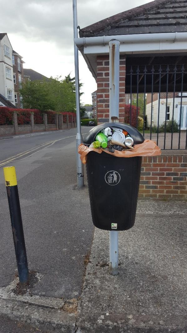 Full bin in Abbotsmead Pl, at deliveries entrance to Iceland -7 Abbotsmead Place, Reading, RG4 8BB