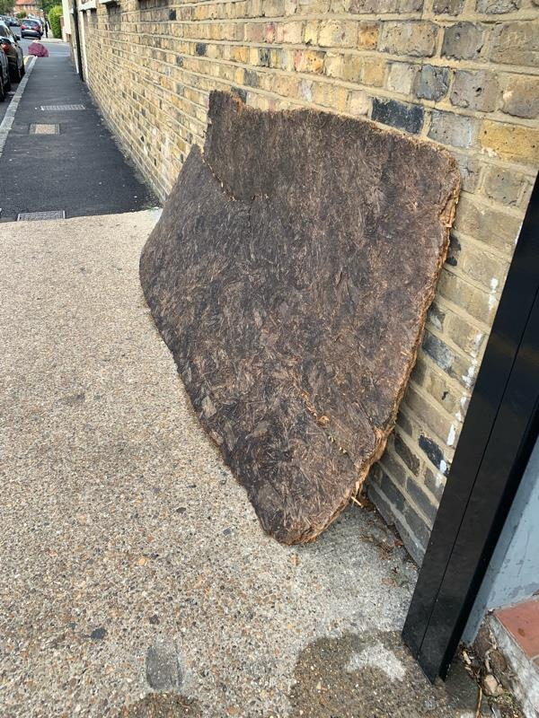 Large piece of wood leaning against the wall in doghurty road needs removing -23 Doherty Road, London, E13 8DR