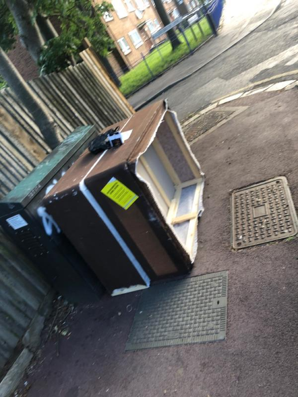 Fly tipping outside number 78-47 Colchester Avenue, Manor Park, E12 5LF