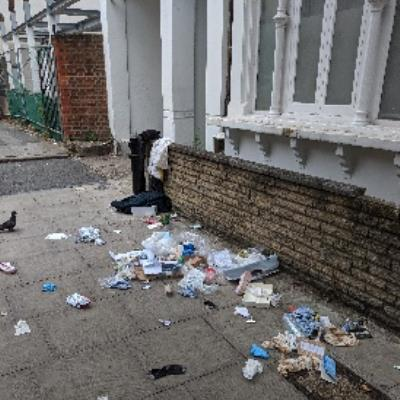 Rubbish on the pavement outside 23 Tudor Road.-25 Tudor Road, London, E9 7SN
