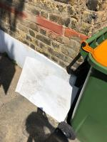 Someone has interfered with our household recycling and fly tipped additional waste such as piping and a plastic sheet.  image 2-99b New City Road, Plaistow, E13 9PX