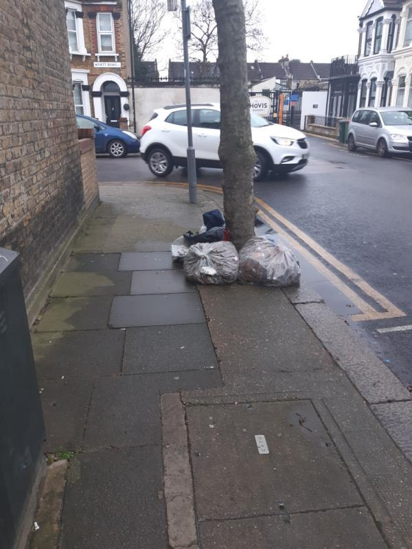 fly tipping -60a Wyatt Road, London, E7 9NE