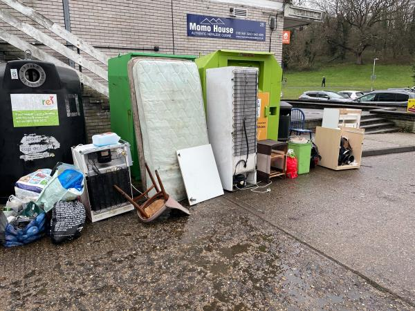 Thank you for removing the previous fly tip! There is now another one but this one also has some addressed envelopes from 22 Lowfield Road, Caversham Park.-7 Farnham Drive, Reading, RG4 6NY