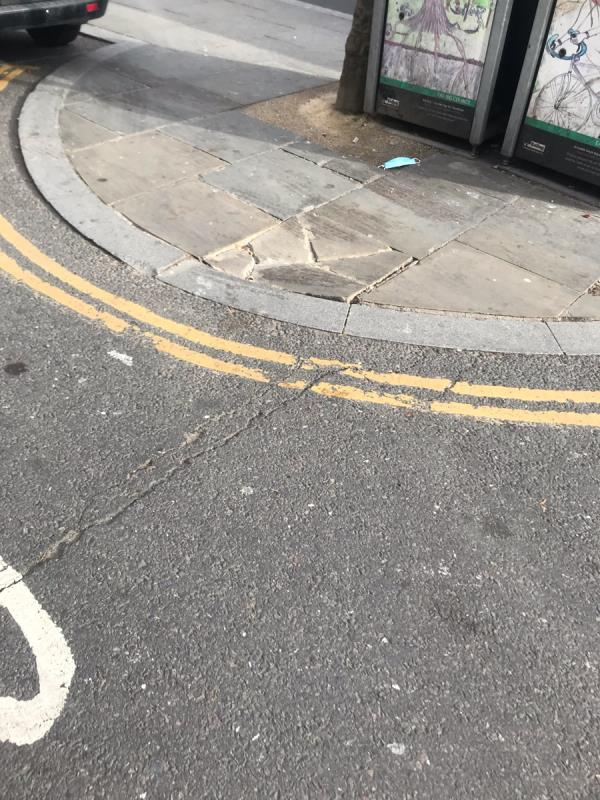 Cracked uneven pavement is located outside 320 Ruislip Road East ub6- please can like for like materials be used to replace ie York stones -320a Ruislip Road East, Greenford, UB6 8SP