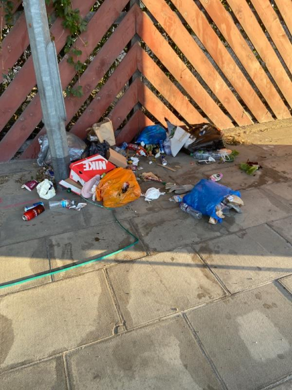 Bags of domestic waste on pavement. Opposite side of road to old fire station -Silvertown Fire Station, 303 North Woolwich Road, North Woolwich, E16 2BG
