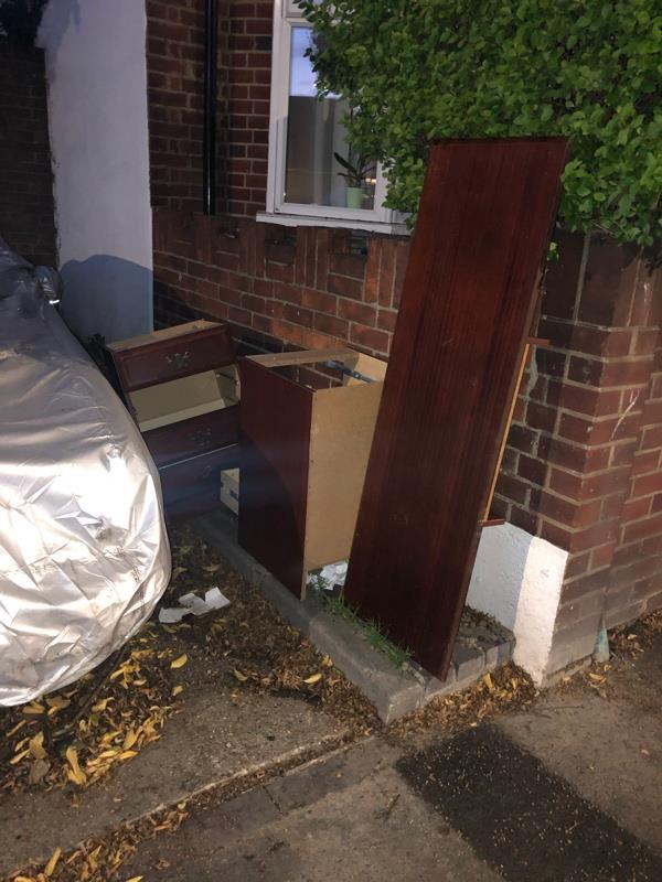 Wardrobe and drawers dumped outside 45 Skeffington Road -45 Skeffington Road, London, E6 2NA