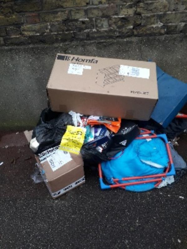 4x black bags,  2x cartons, toys and baby seat-70 Tinto Road, London, E16 4BB