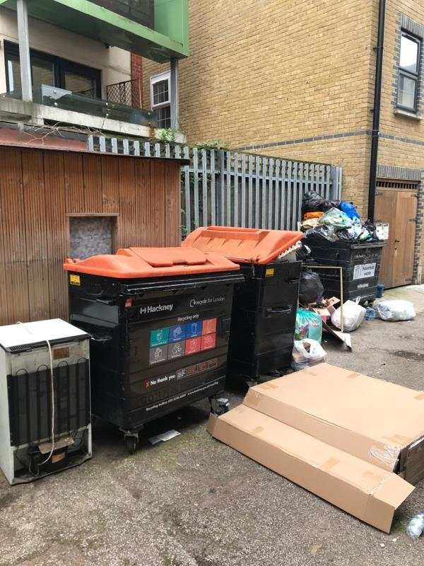 Fly tipping of bed and washing machine and no rubbish collection yet this week. -10 Arcola Street, London, E8 2DD