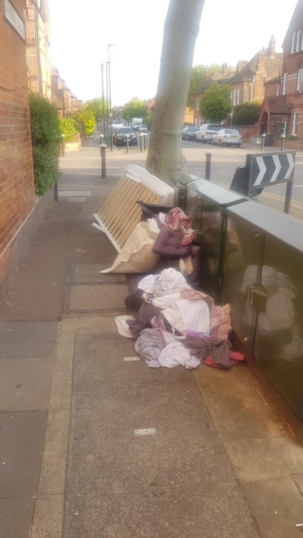 dumped rubbish fly tipping corner of Salisbury road and Gladstone ave -148a Gladstone Avenue, London, N22 6LG