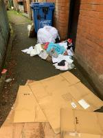 Fly tipping from student flat on granby street. Address is visible on letters on rubbish. Looks like someone has moved out with rubbish being dumped and new bed cover purchased! image 1-2 Newport Place, Leicester, LE1 1DN