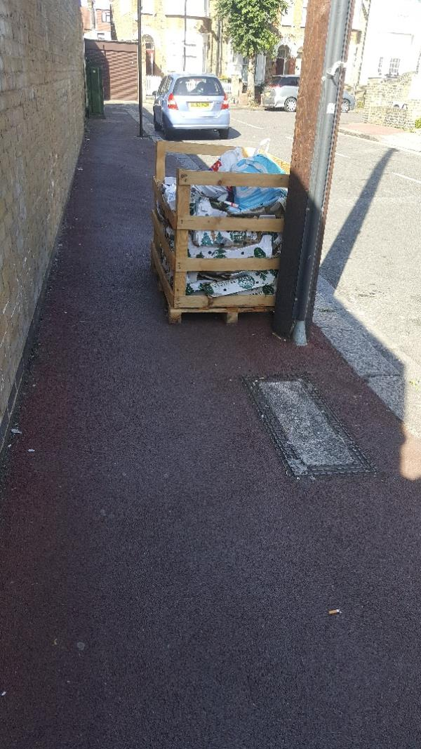 fly tipping crate and veg packaging-2 The Warren, Manor Park, E12 5HY