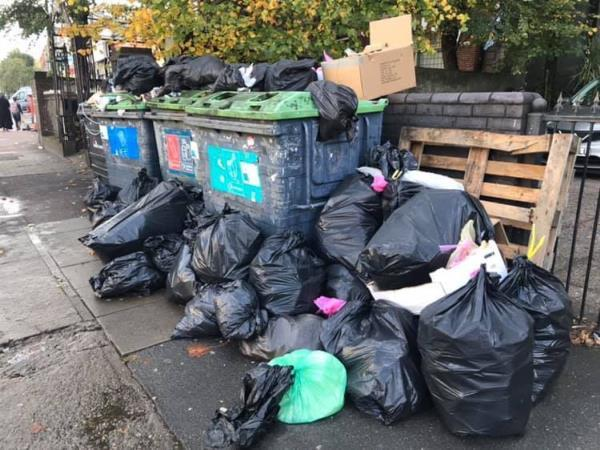Rubbish is piling up outside of the live and let live public house it's starting to spread across the pavement blocking the path could be a possible trip hazard-272a Romford Road, London, E7 9HD