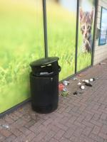 Litter has been tipped out of rubbish bins next to pets at home and also stuck under their trolleys outside  image 1-Solartron Retail Park Solartron Road, Farnborough, GU14 7QJ