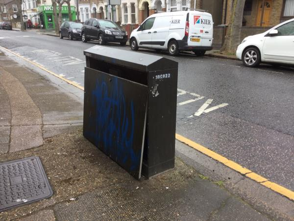 Damaged bt box, Internal's exposed, door separated opp 104 Keppel rd-102 Keppel Road, London, E6 2BE