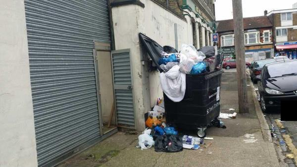 Besides the Park Travern Hotel on Amity Road- Problems Overflowing -too much flytipping - over flowing bin on high way- visible to public !-13 Amity Road, E15, E15 4