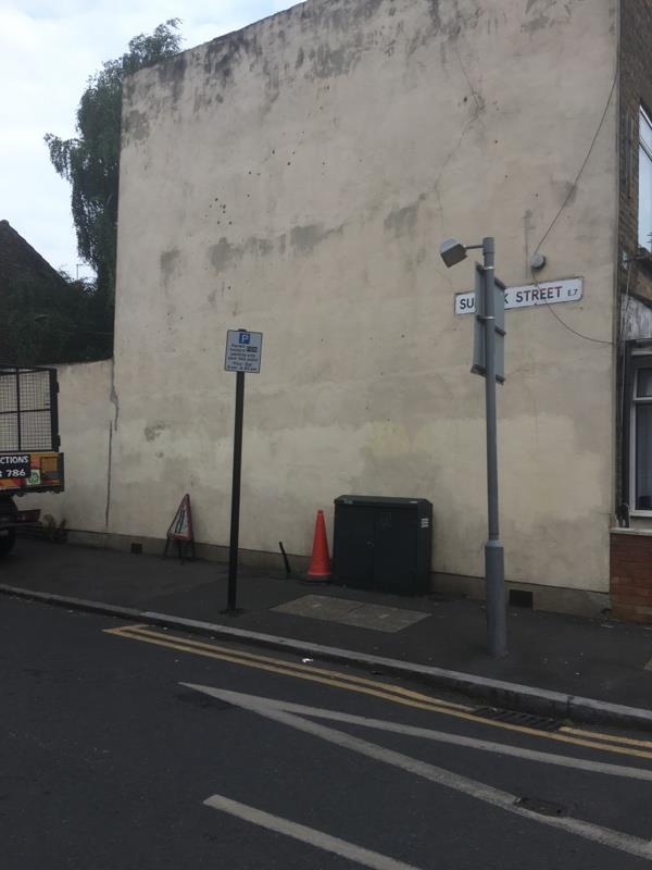 Road works sign and cone needs collecting - reported numerous times-5 Suffolk Street, London, E7 0HF