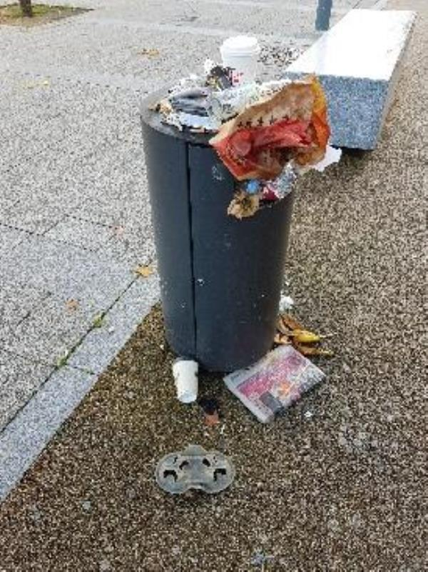 I have walked past these disgusting overflowing bins at 08.30 on Monday, Tuesday, Wednesday and Thursday this week. This is not unusual; it is like this most weeks. This is one of the first things visitors to Reading will likely see on exiting the train station and seeking a taxi. It is an absolute disgrace and shouldn't be difficult to sort out. Why hasn't it been? -The Biscuit Tin Station Hill, Reading, RG1 1PE
