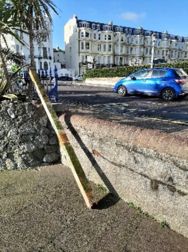 seesl- beam of wood dumped against wall opposite the queens hotel can this be removed asap please. -Queens Hotel Marine Parade, Eastbourne, BN21 3PG