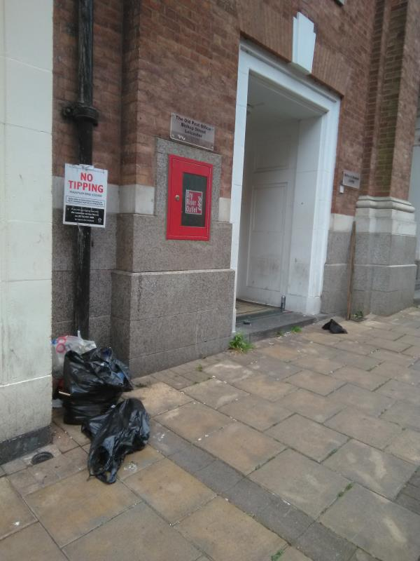 Fly-tipping (next to no-tipping sign) outside former Post Office, Bishop Street-2 Bishop Street, Leicester, LE1 6EH
