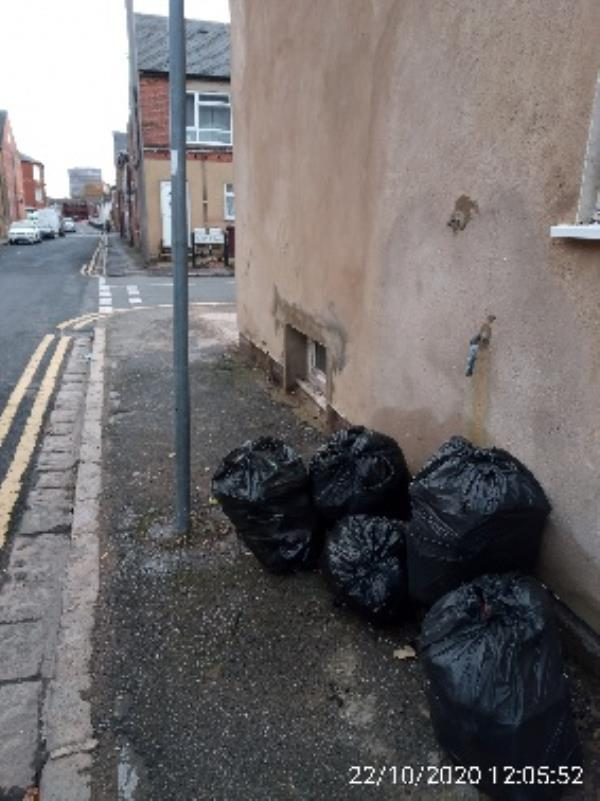 Bags of domestic waste on corner of Derby Street and Stanley Street have investigated please collect -11 Derby Street, Reading, RG1 7NX