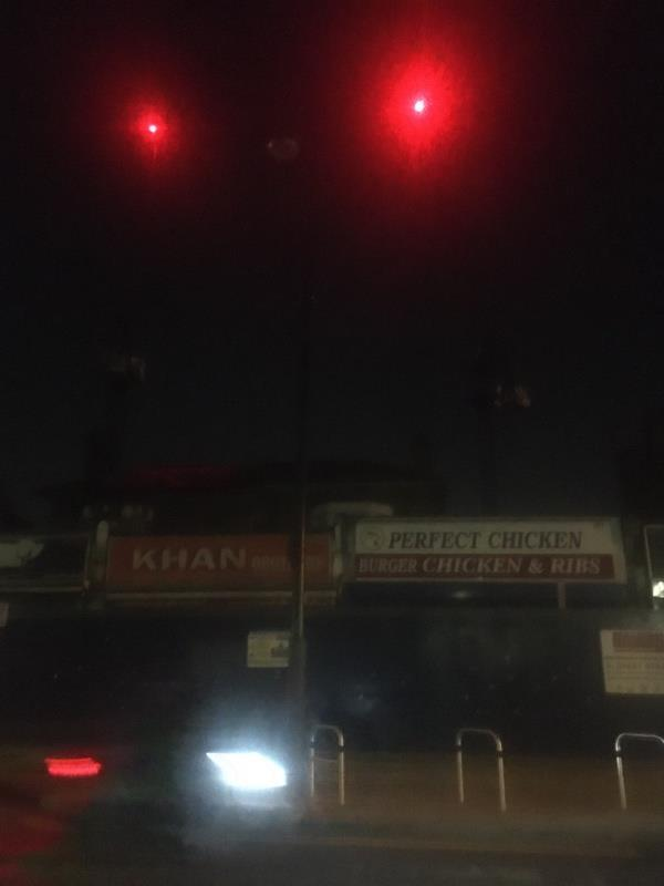 Light still out no number visible outside khan butchers -39b Woodgrange Road, London, E7 0QH