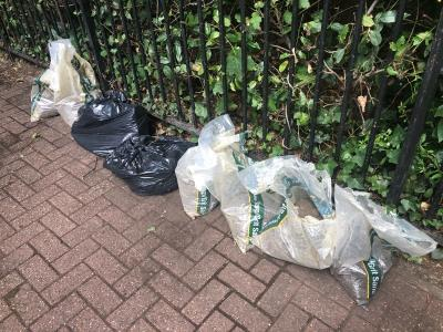 Building waste dumped next to Butterfield Green -60 Cowper Road, London, N16 8PF